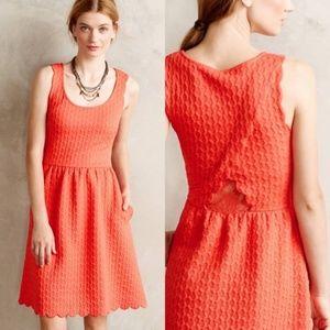 Anthro Maeve Coral Caye Scallop Tulip Back Dress S